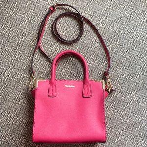 Calvin Klein Pink Handbag Crossbody Gold Hardware
